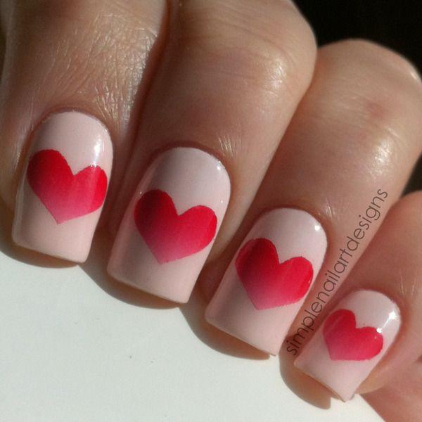 Gradient Heart Nails