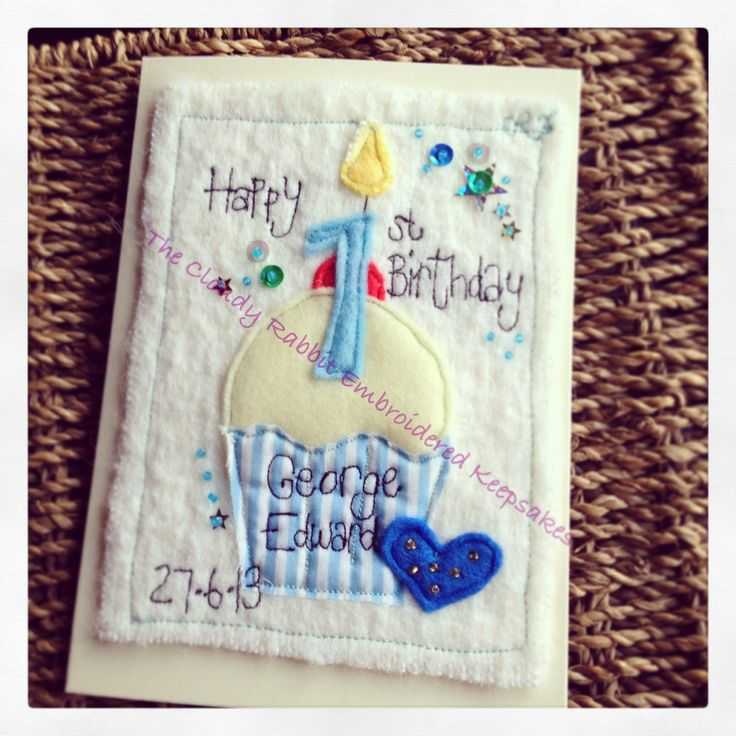 A first birthday Cloudy Rabbit Embroidered Keepsake card. #firstbirthday #freehandmachineembroidery #cupcake #greetingscard #card #birthday  Order yours from www.fb.com/somethingalittlebitdiffeRnt