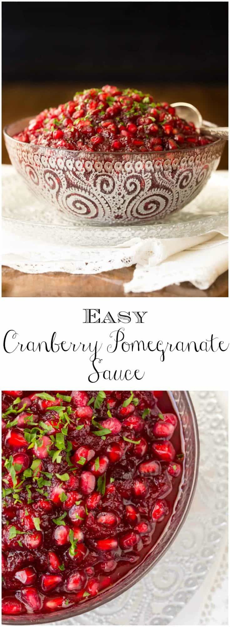 Easy Cranberry Pomegranate Sauce - the easiest , most delicious cranberry sauce ever with ginger, lemongrass and pomegranates!   via @cafesucrefarine