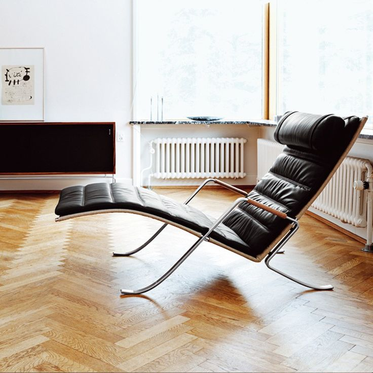 Grasshopper - FK 87 - Sort læder - Lænestole - Stole - Møbler