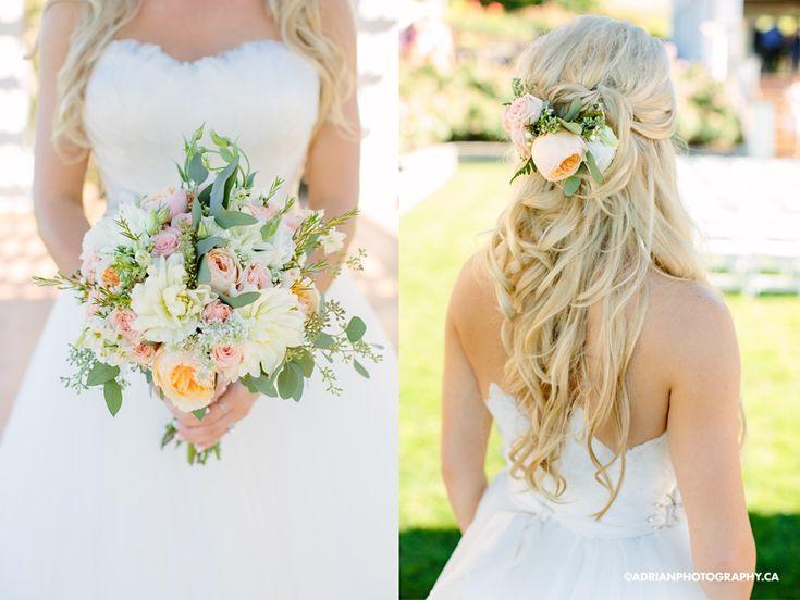 bridesmaids bouquet ferns peach pink | Bridgette & Dana's Cedar Creek Winery & Hotel Eldorado Wedding