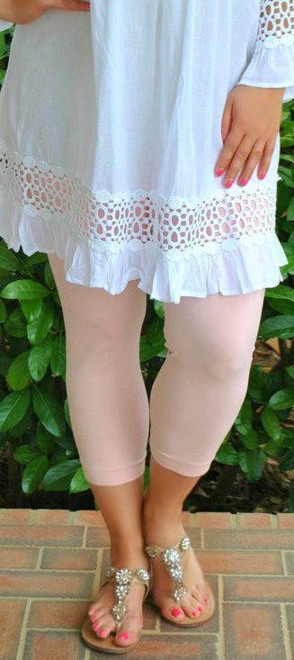 Perfectly Priscilla Boutique - So Very Luxe Capri Legging - Peach, $20.00 (http://www.perfectlypriscilla.com/so-very-luxe-capri-legging-peach/)