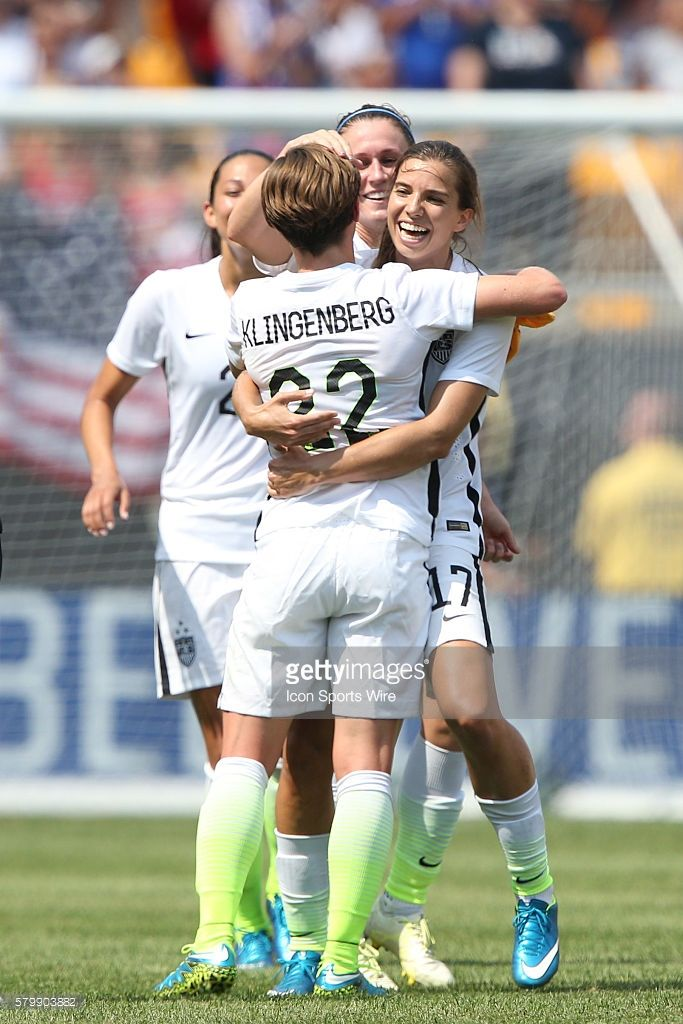 Meghan Klingenberg (USA) (22) celebrates her goal with former college teammates at the University of North Carolina Tobin Heath (USA) (right) and Heather O'Reilly (USA) (center). The United States Women's National Team played the Costa Rica Women's National Team at Heinz Field in Pittsburgh, Pennsylvania in an women's international friendly soccer game. The U.S. won the game 8-0.