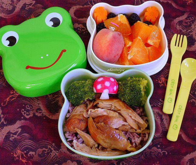 Shoyu Chicken and Rice Frog Bento by sherimiya ♥, via Flickr  Z would really like the shoyu chicken
