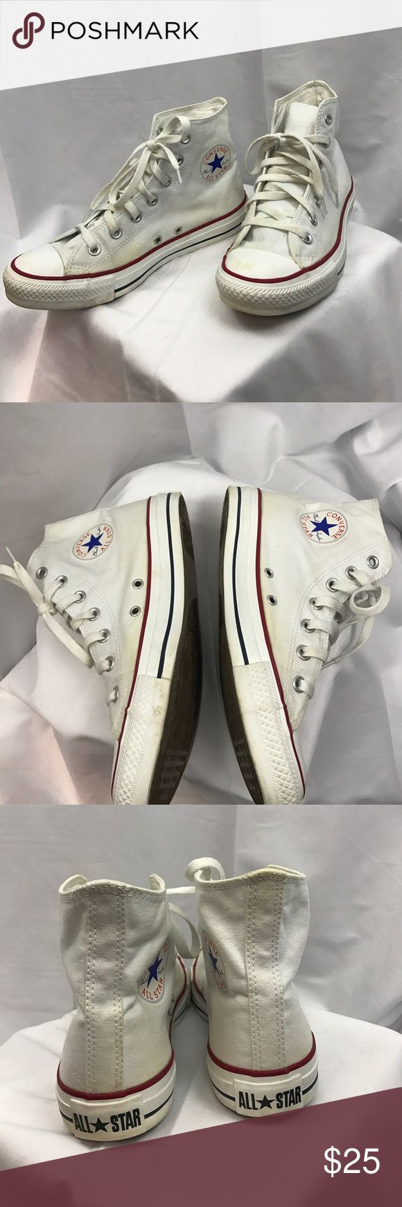 Converse All Star sz8 white high top sneakers Good used condition Converse All Star sz8 white high top sneakers...white canvas shows some yellowing and ties have some scuffs...see Picts...no odors or wear to interior... Converse Shoes Sneakers