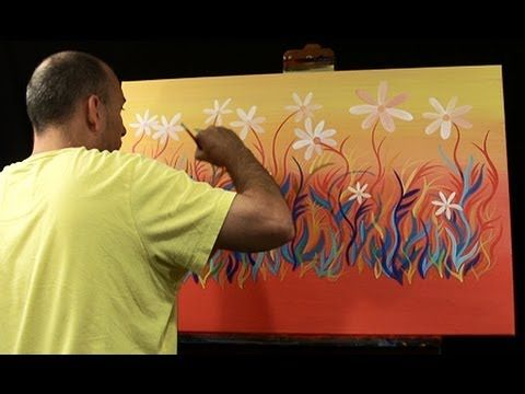 How to Paint ABSTRACT FLOWERS Live ART painting by RAEART