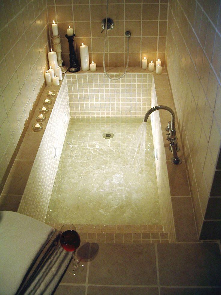 Sunken bath. Love the idea of steps.