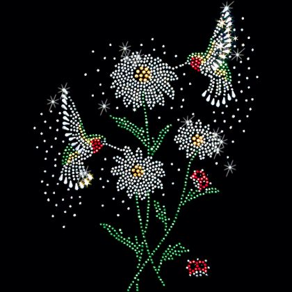 8x9 - 2 HUMMINGBIRDS & FLOWERS - flowers, hummingbird, Rhinestone, Material Transfer, Flowers