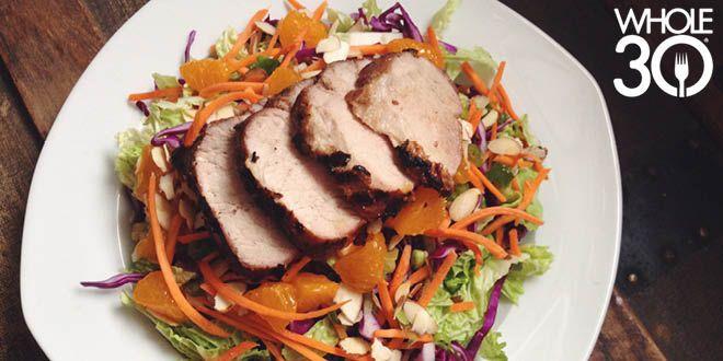 Grilled Over Greens: Chinese 5-Spice Pork Tenderloin & Salad with Sesame-Ginger Vinaigrette #whole30