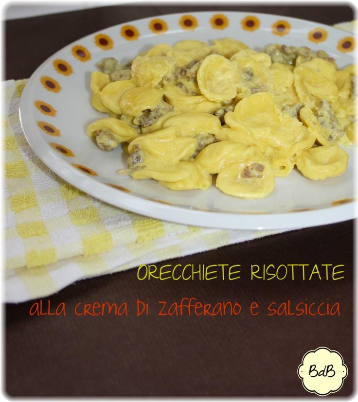 Orecchiette risottate alla crema di zafferano http://bricioledibonta.blogspot.it/2013/04/orecchiette-risottate-alla-crema-di.html