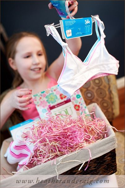 """a """"welcome to puberty"""" gift basket for a young girl lol my mother did something like this for me and I absolutely loved it!"""