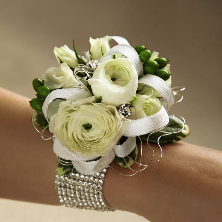 Mixed white flower wrist corsage.   Prom Corsages ...