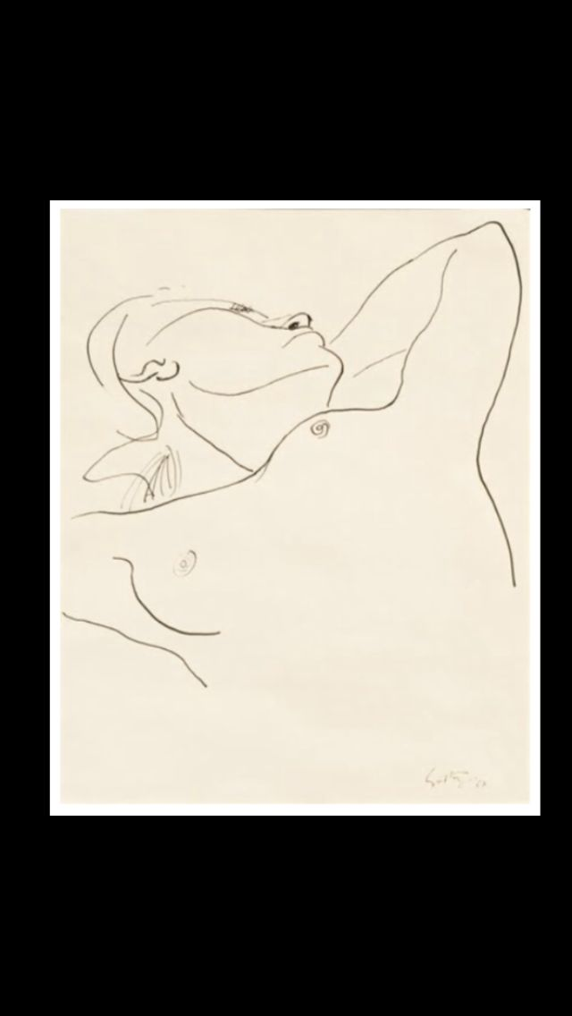 "Renato Guttuso - "" Nudo disteso "", 1967 - China su carta - 40,5 x 33 cm"