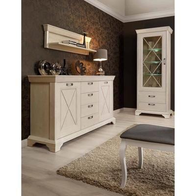 KASHMIR Buffet bas romantique décor pin blanc mat + poignée en métal effet argent vieilli - L 178 cm - Achat / Vente buffet - bahut KASHMIR Buffet bas 178 cm - Cdiscount