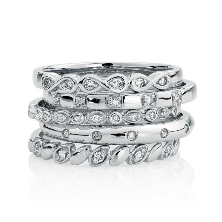 silver stacked rings michael hill
