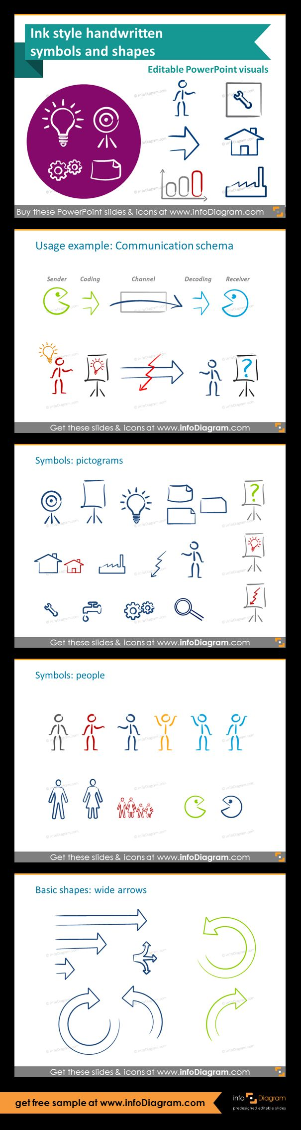 Editable graphical elements for PowerPoint - handwritten symbols and shapes in ink style.Usage diagram example - communication schema,; people icons, wide arrows shapes and various symbols. Use handwritten symbols to illustrate slides by adding pictograms.
