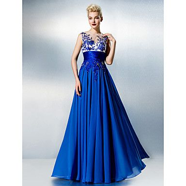TS Couture® Formal Evening Dress - See Through Plus Size / Petite A-line Jewel Floor-length Chiffon / Lace with Beading  – USD $ 109.99