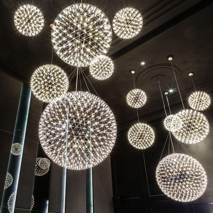 Moderne bref loft led pendentif luminaire feu d'artifice boule en acier inoxydable pendentif lampes maison déco éclairage 110-240 v