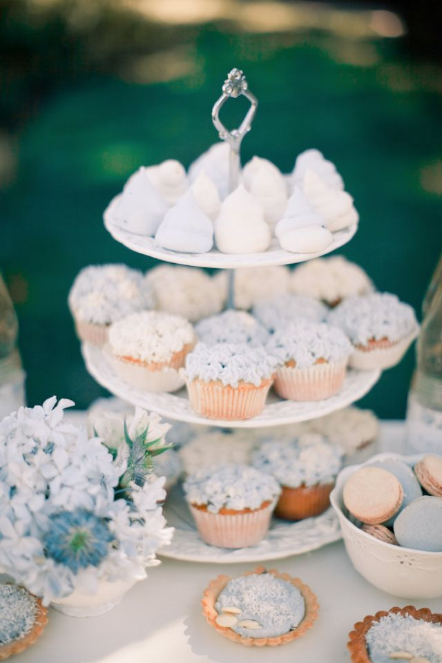Powder blue and white cupcake tower | Anastasiya Belik Photography | http://burnettsboards.com/2013/12/powder-blue-white-wedding/