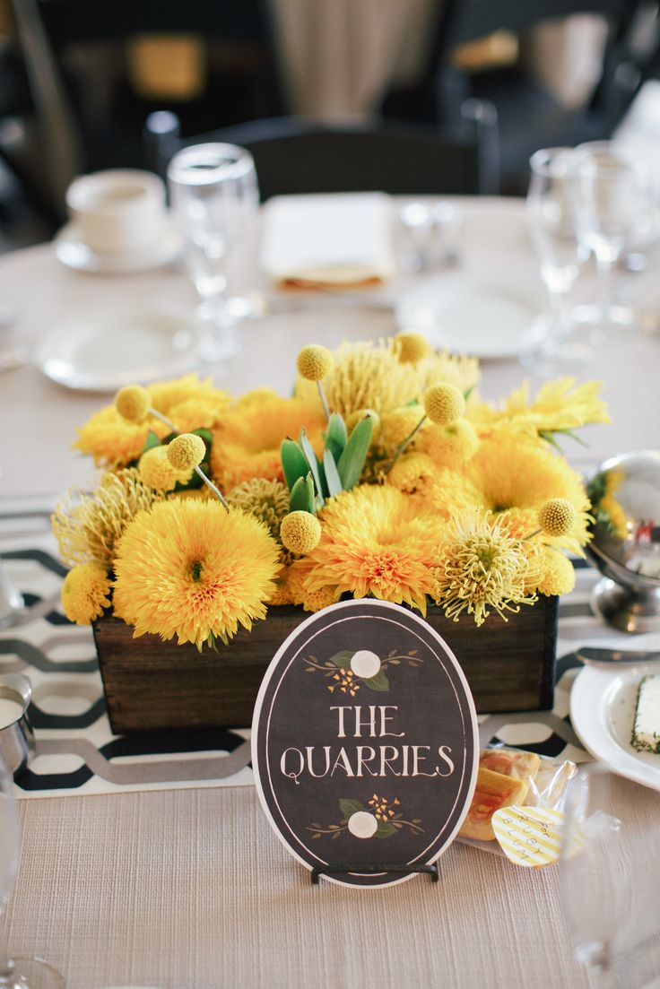 Wedding Centerpiece -- Great mix of styles... Modern graphic table runner + Rustic container. On Style Me: http://www.StyleMePretty.com/2014/03/03/fall-wedding-at-sycamore-farm-bloomington/  Photography: Todd Pellowe