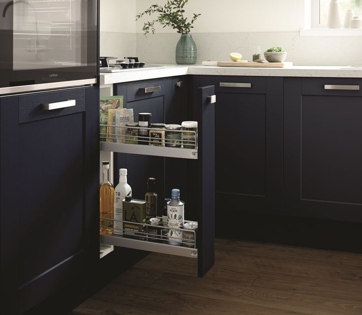 There are many different storage options for our brand new Fairford Navy kitchen. For more storage solutions visit Howdens.
