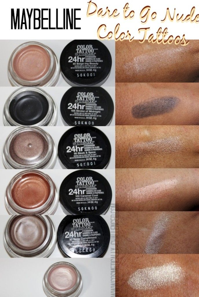 Maybelline Color Tattoos, Dare to Go Nude, Color Tattoos. #nudemakeup #beauty #swatches