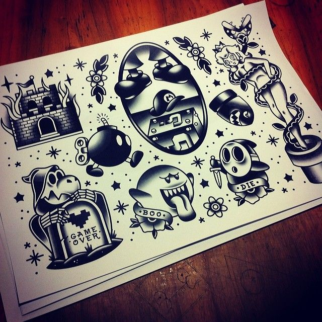 I'm back #tattoo #mario #nintendo #geek #tattoos #traditional #oldschool #nerd…