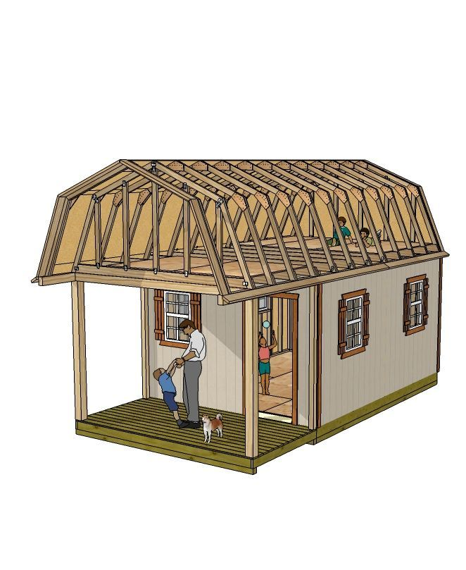 Use this 12x16 barn style shed with front porch for a small cabin, tiny house, garden shed, or studio and home office.