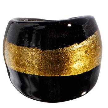 Handmade Striped Black Gold Bold Glass Ring: Handmade Stripes, Stripes Black, Body Candy, Body Jewelry, Rings Body, Glasses Rings, Black Gold, Gold Bold, Bold Glasses