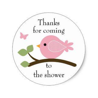 Etiqueta redonda do pássaro cor-de-rosa adesivo