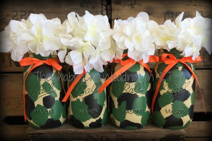 Set Of 4 Quart Camoflage Painted Mason Jars, Camo Decorations, Camo Wedding, Camo Mason Jars, Camoflage Mason Jars, Camo Gear, Camo Decor by PaintedMasonJar on Etsy