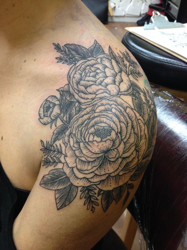 Flower Shoulder Tattoo: Peony Rose Flowers Shoulder Cap Tattoo