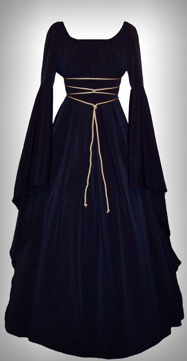 Articles similaires à Vente - moyen âge/Renaissance noir Satin trompette manches Costume Robe, fait sur commande à l'ordre. sur Etsy