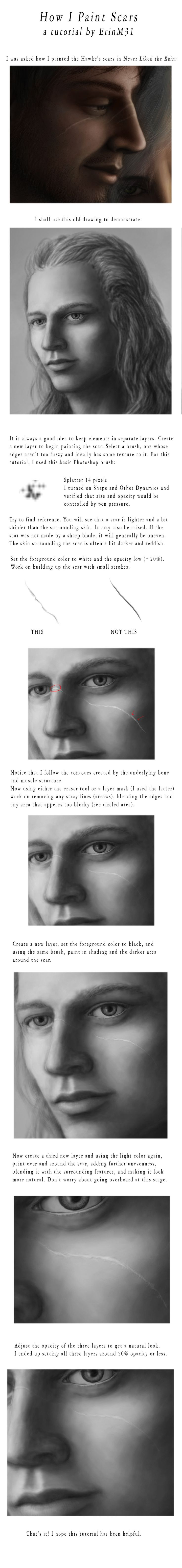 How I Paint Scars TUTORIAL by ErinM31