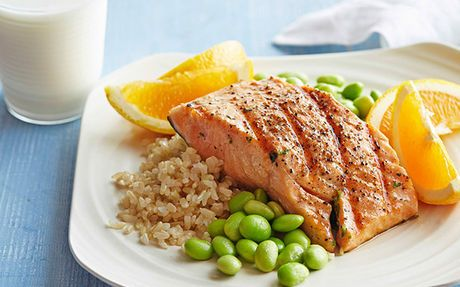 Honey Soy Grilled Salmon with Edamame and Brown Rice Recipe by Food Network Kitchens : Food Network UK