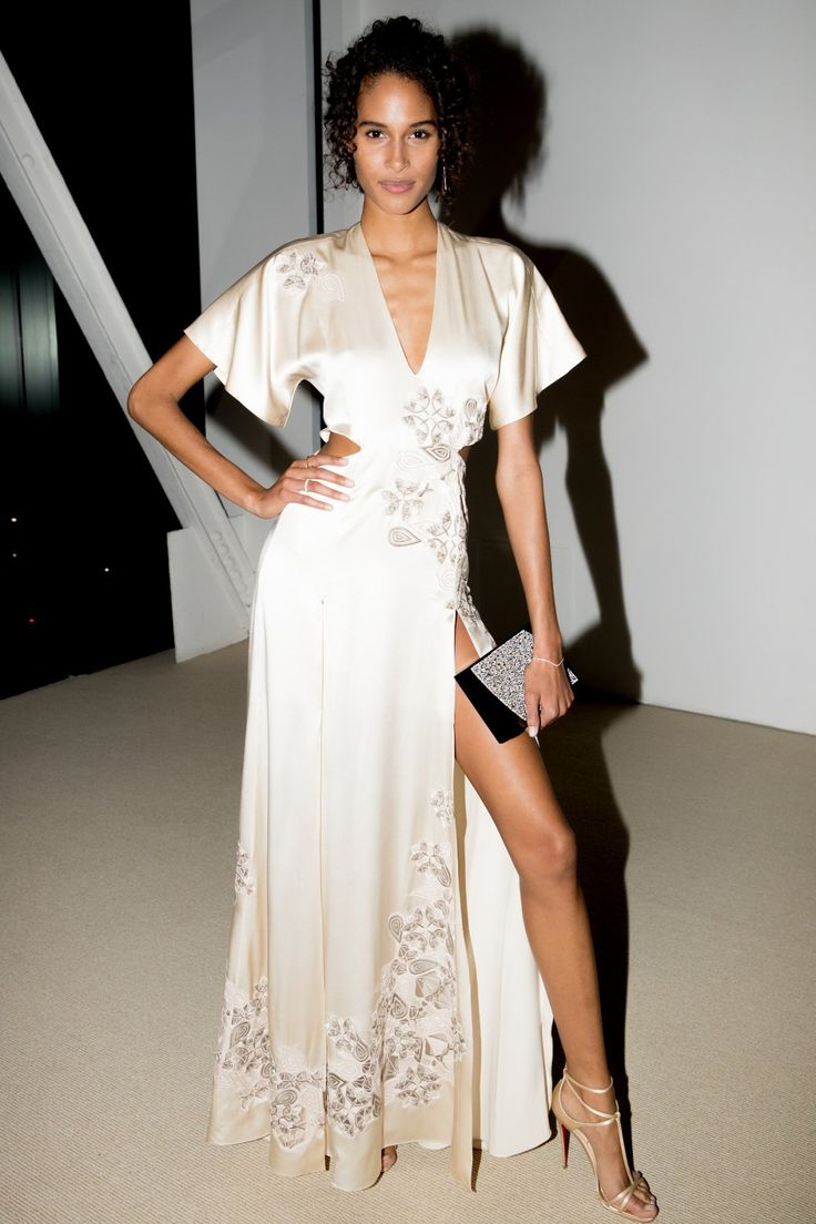 Cindy Bruna in Jonathan Simkhai at the 2016 CFDA/Vogue Fashion Fund gala dinner.