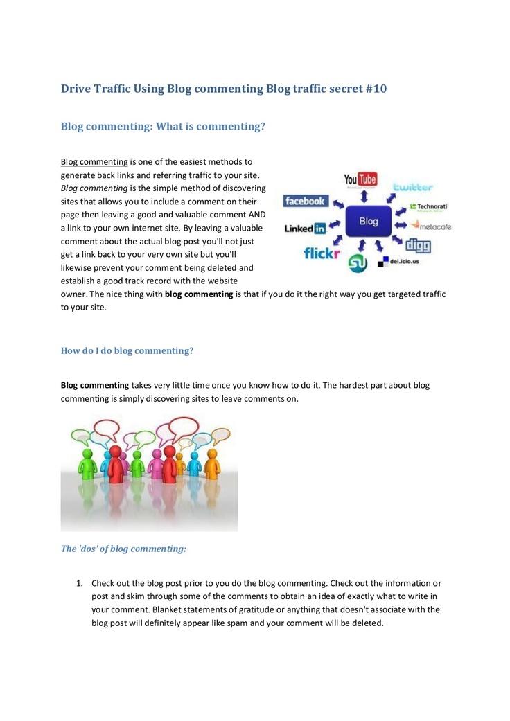 drive-traffic-using-blog-commenting-blog-traffic-secret-10 by pmkab77 via Slideshare