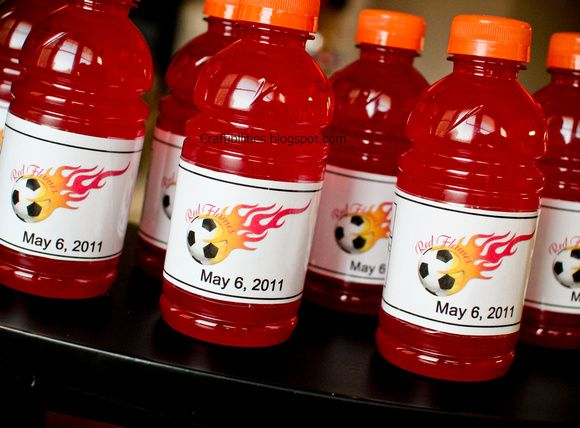 Snack Mom IDEAS - personalized gatorade or water bottles with SOCCER themed nutrition facts. Super cute!