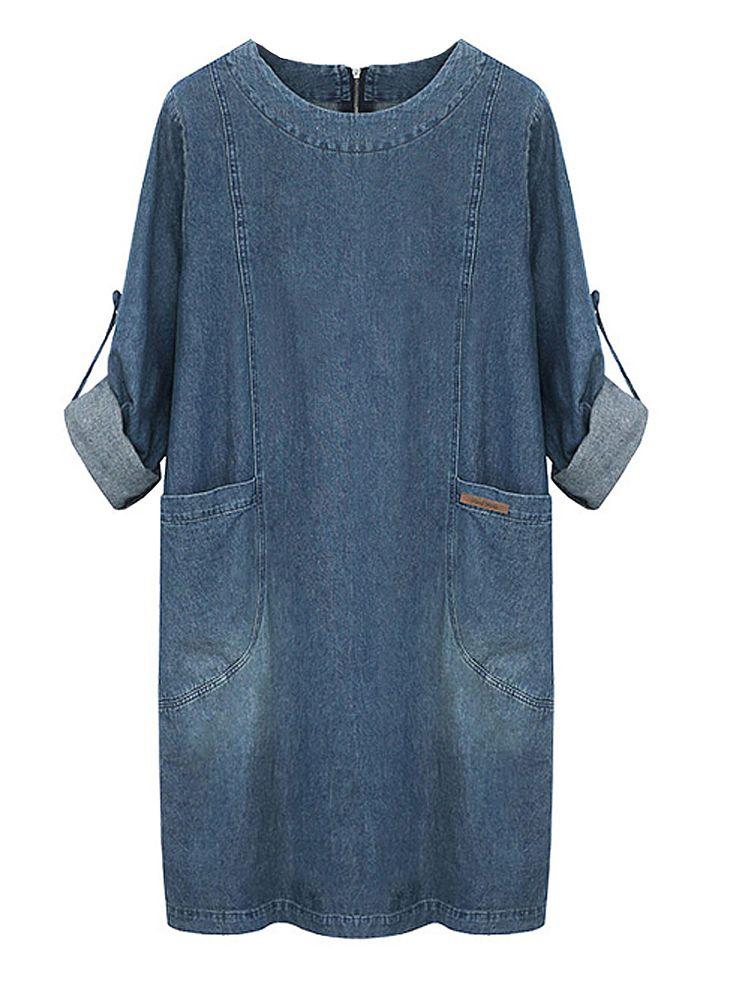 Casual Women Pocket Long Sleeve Zipper Denim Dress