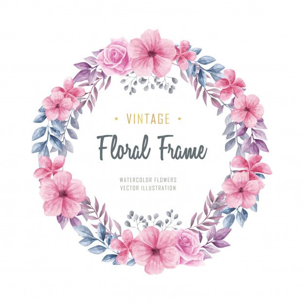 Beautiful Watercolor Floral Flowers Circle Frame Vintage Watercolor Flower Vector Flower Frame Flower Circle