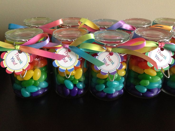 Rainbow candy jars for loot bags