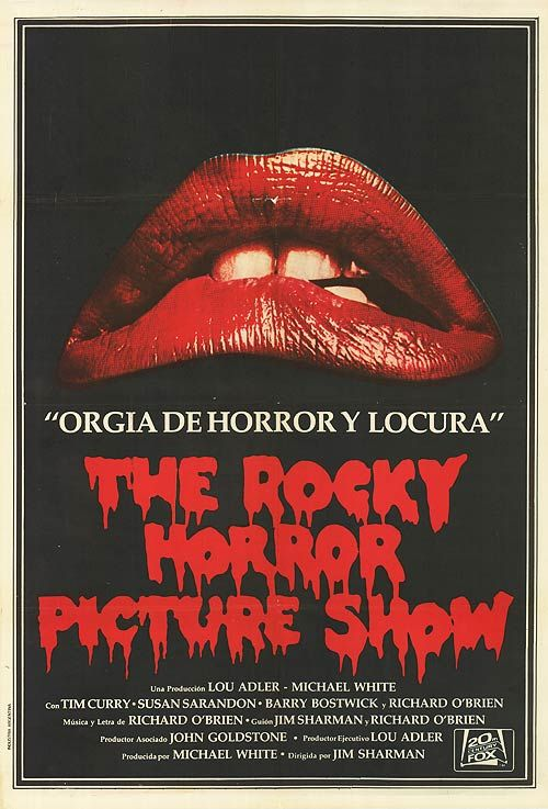 "Rocky Horror Picture Show - One Sheet Argentine Poster. Size: 41 1/2"" x 27 1/2"". Printed in Argentina. Description: Similar design to U.S One Sheet. ""Olgia De Horror Y Locura"" written between lips and logo with credits with in Spanish at bottom."