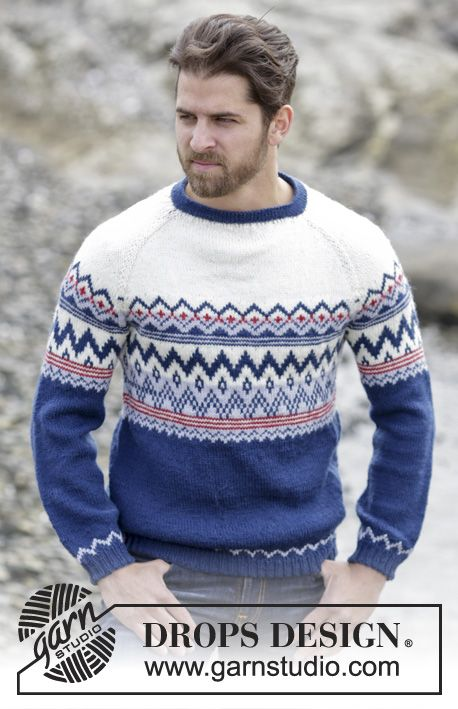 "Ólafur Jumper - Knitted DROPS jumper for men with raglan and Norwegian pattern in ""Karisma"" or ""Merino Extra Fine"". Worked top down. Size: S - XXXL. - Free pattern by DROPS Design"