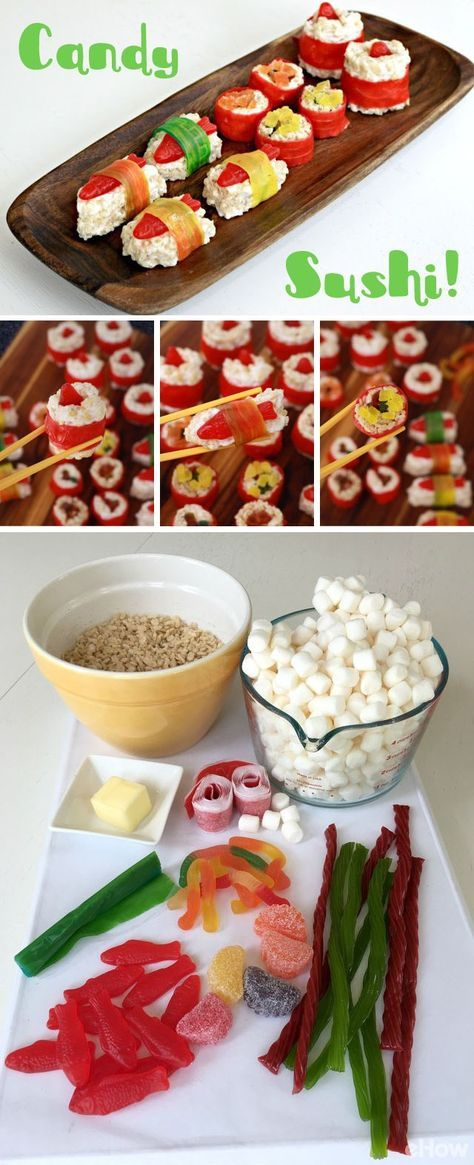 Such a fun food project to do with kids or for a kids party! Candy and rice crispy treats used to make candy sushi!
