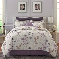 @Overstock - Purple, white and brown flowers fall gently across this pretty comforter set. With a soft white background, this delicate comforter set will lend a modern feel to any bedroom.http://www.overstock.com/Bedding-Bath/Meadow-Flower-8-piece-King-size-Comforter-Set/6493747/product.html?CID=214117 $147.69