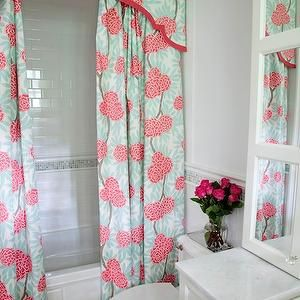 Design Manifest - bathrooms - shower, curtains, valance, white, mirrored, cabinets, marble, basketweave, tiles, floor, shower curtains, valance, shower valance, shower curtain valance, valance ideas, bathroom valance ideas, shower curtain valance ideas, pink and blue shower curtains, pink and blue valance, pink and blue shower valance, pink and blue shower curtain valance, floral shower valance, Caitlin Wilson Textiles Mint Fleur Chinoise Fabric,