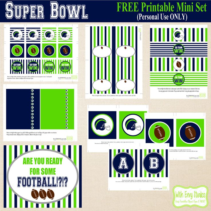 FREE Super Bowl Printable Party Coordinates with Seahawk's Team Colors by With Envy Studios.