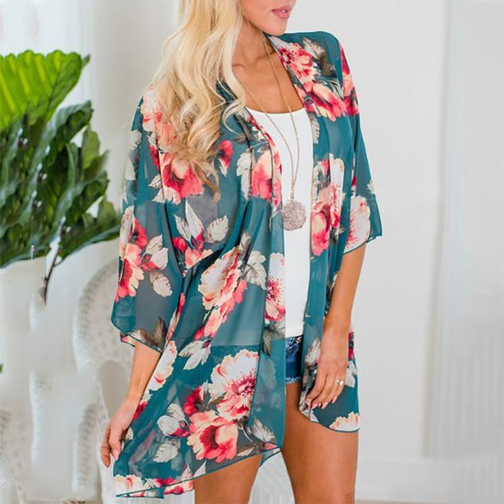 Casual Flower Printing Chiffon Cardigan Shirts & blouse for work blouse for work…