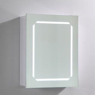Vanity Art Wood Medicine Cabinet with LED-lighted Mirror and Rock Switch