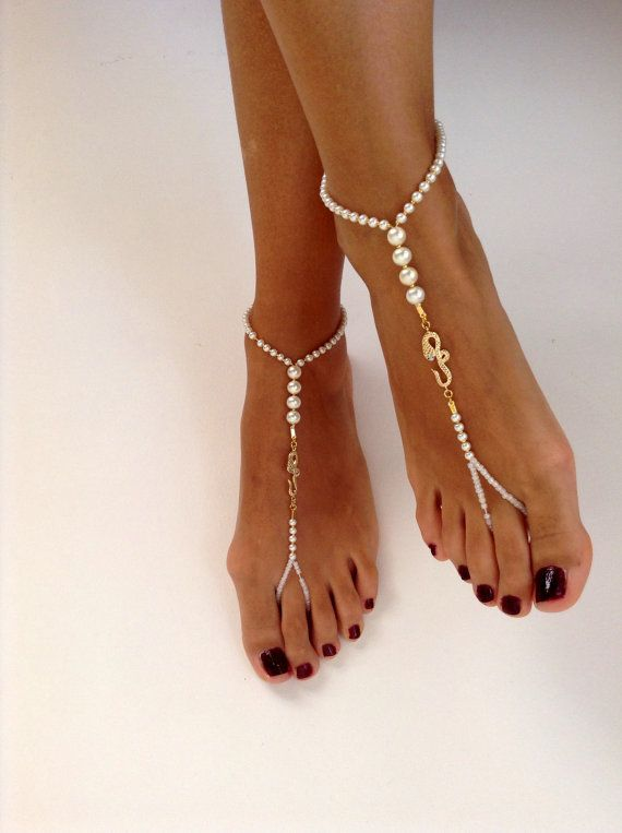 barefoot Sandals ivory pearl wedding  Bikini  Women by SibelDesign,Barefoot Sandals, bridal ,Bridal Shoes , Bridal Sandals , Bridal Jewelry ,shoes , READY TO SHIP, bead, whites wedding, Bikini Women, by SibelDesign
